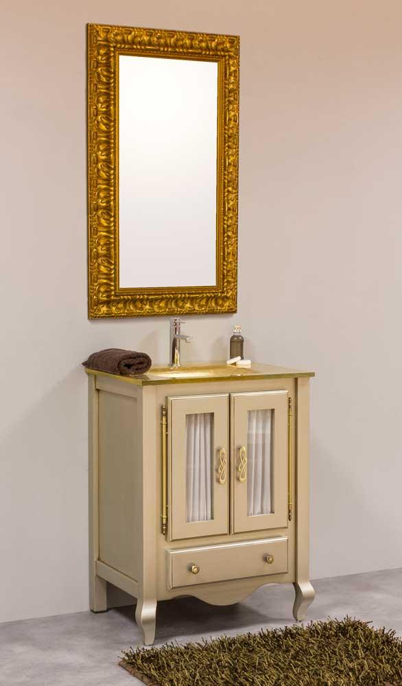 Mueble de baño champan espejo dorado