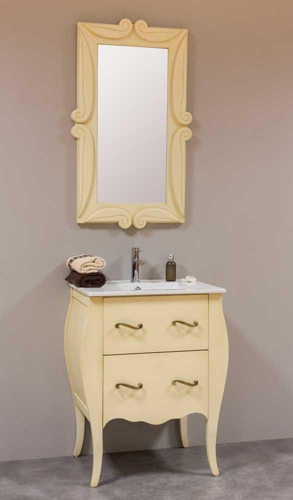 Mueble de baño isabelino 60 beige oscuro espejo tallado