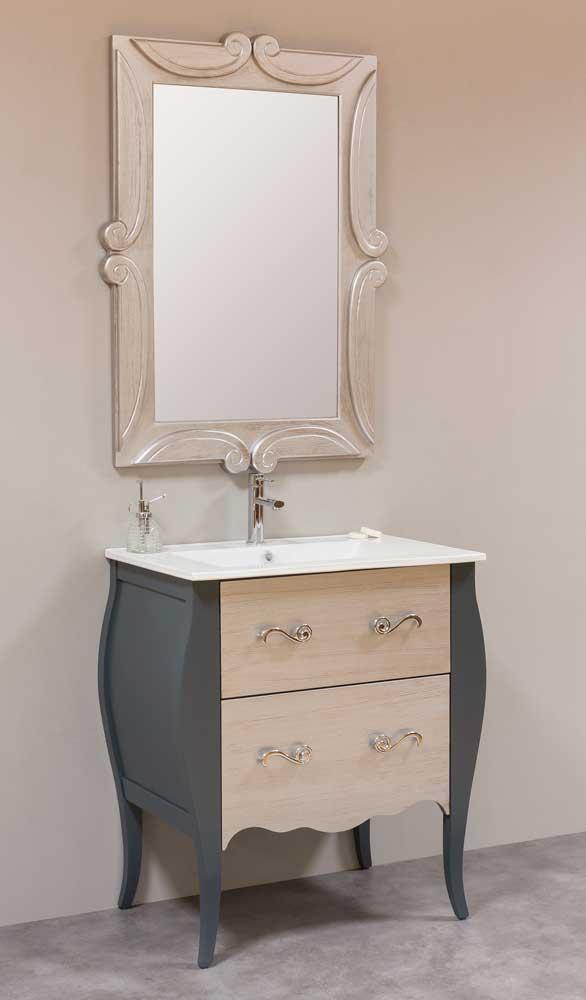 Mueble de baño neoclásico gris plata peinado espejo tallado