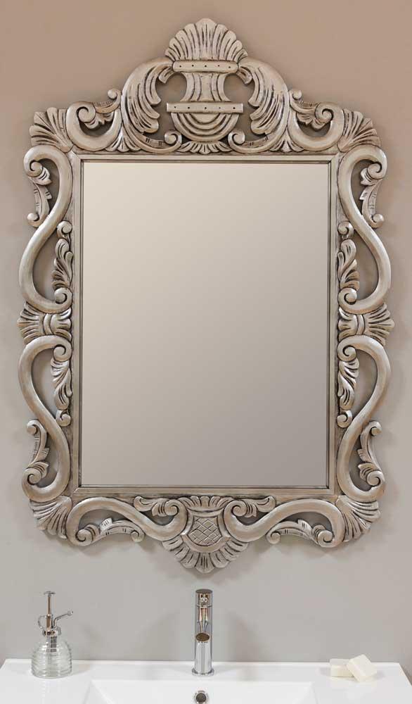 Espejo de madera tallado y calado plata a medida