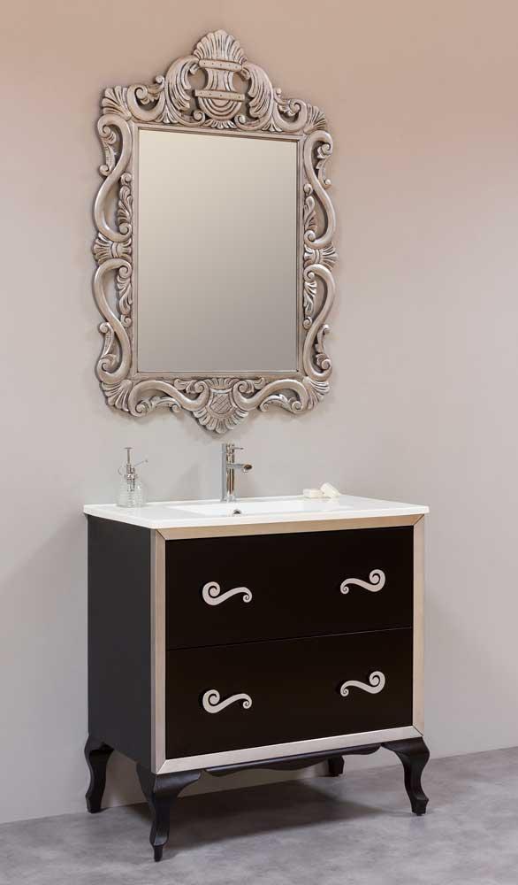Mueble baño neoclásico espejo madera tallado calado