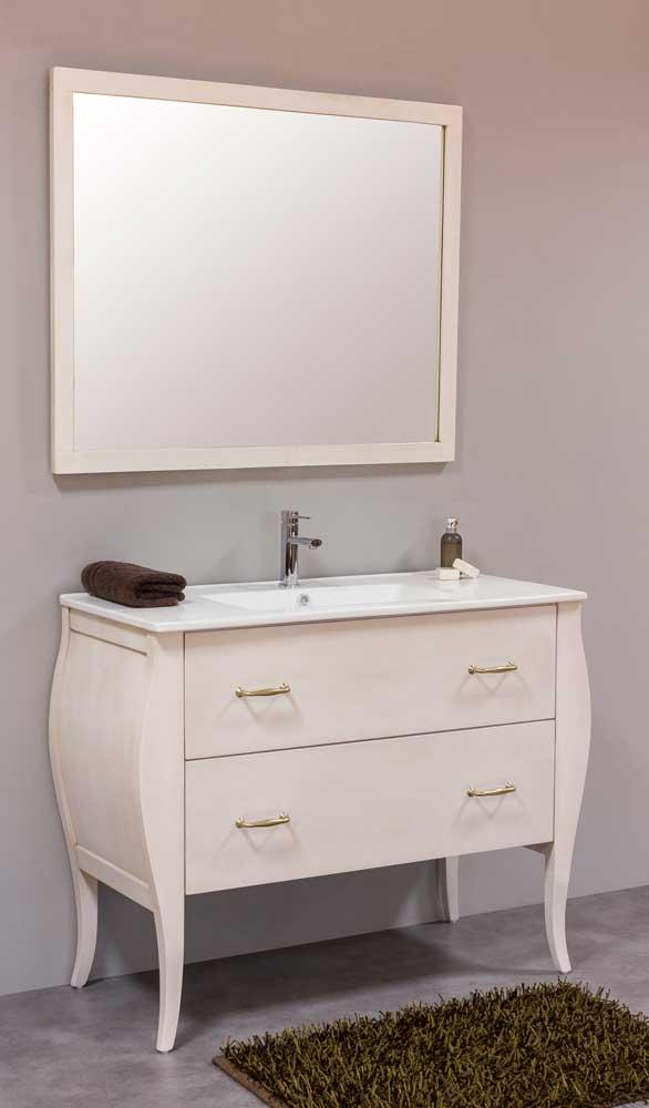 Great R12   Mueble De Baño Vintage De 100 Cm . Cajón Inferior Recto. Casco Y  Espejo Color Blanco Envejecido. Espejo Modelo Recto.