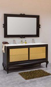 Mueble bano vintage a medida 150 dos senos negro oro