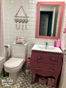 Mueble bano vintage rosa envejecido