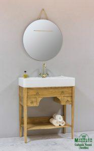 Mueble bano farmhouse arenado espejo redondo cuerda