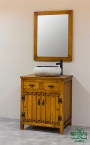 Mueble bano rustico tirador negro