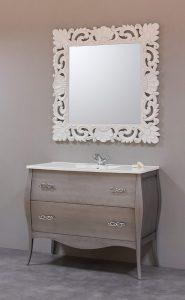 Mueble bano vintage plata estilo madera