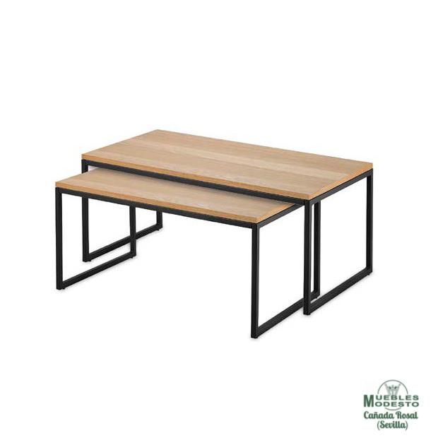 mesas centro chapadas roble estructura metal negro mate