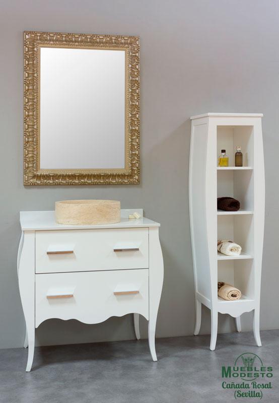 Mueble-bano-vintage-blanco-lavabo-sobre-encimera-piedra