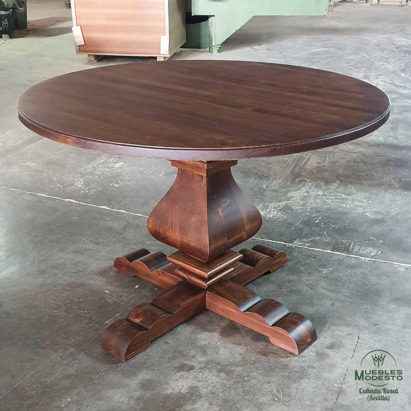 Mesa-redonda-bonita-una-pata-pedestal-patacona-madera-maciza
